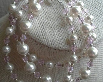 Crystal and Pearl Three Strand Bracelet