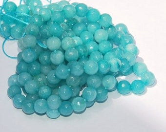 Full Strand 6mm Faceted Light Blue Turquoise Agate Gemstone Beads