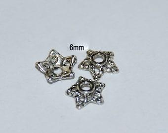 30 pcs 6mm Five Point Star Shape Antique Silver Bead Caps