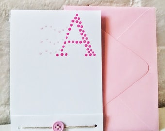 Hand Painted Monogram Card- Personalized Stationery