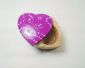 Purple Heart Shaped Trinket Box - Hand Painted Wood - Dots - Abstract Design - Gift for Her - Modern Jewelry Box - Purple and Black - Hearts