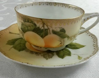 "Rosenthal Tea Cup and Saucer; Titled, ""Madeleine""  circa 1898-1906-  393"