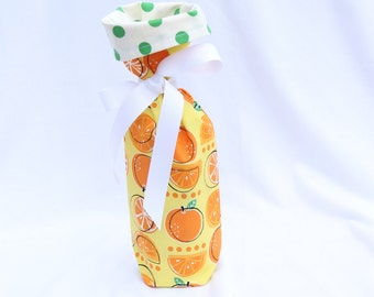 Wine Gift Bag - Robert Kaufman Metro Market Oranges by Monaluna