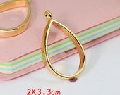 6pcs Gold Color Plated Metal Tear Drop Shape Resin Dipped Frame/Pendat/Charm