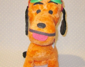 Vintage Carnival Prize Snoopy Red Baron Orange Stuffed Animal Toy Large