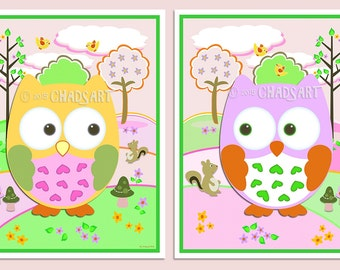 M2M Circo LOVE 'n NATURE Collection Kid's Room Decor Animal and Nature Prints Owl Art Colorful Children's Art Yellow Pink Green Decor