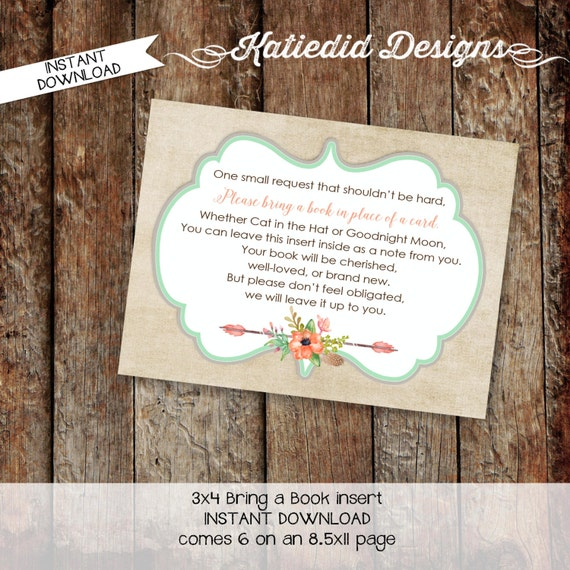 Bring a Book instead of a card enclosure card insert storybook theme library floral rustic chic boho tribal arrows 1445 Katiedid Designs