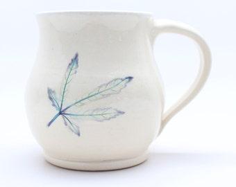Okra Leaf Mug, Pottery Mug, Handmade Leaf Mug,Coffee Mug, Pottery Mug, Botanical Mug
