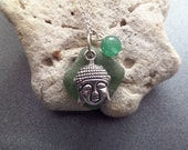 Buddha Necklace, Sea Glass Jewelry, Green Scottish Beach Glass Jewelry, Buddhist Buddha Head Charm, Boho Pendant with Adventurine Bead