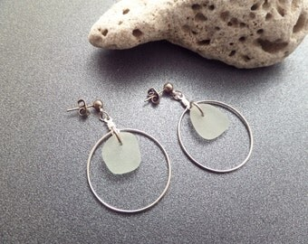 Scottish Jewelry White and Silver Sea Glass Hoop Earrings from Scotland