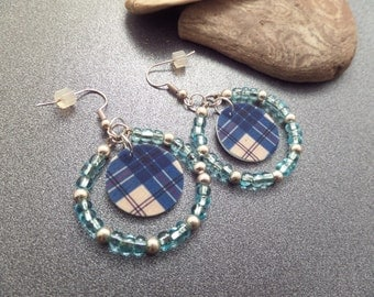 Scottish Tartan Earrings in Turquoise, Lightweight Plastic, McPherson Clan, Highland Dance Jewelry, Blue Plaid, Beaded Hoops