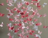 Butterfly Chandelier   Mobile, in pink and white