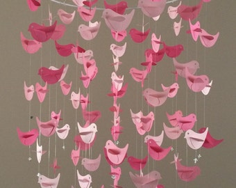 Pink Bird Chandelier Mobile - Baby Shower - Nursery Decor, Nursery mobile, baby girl mobile, photo prop, baby mobile