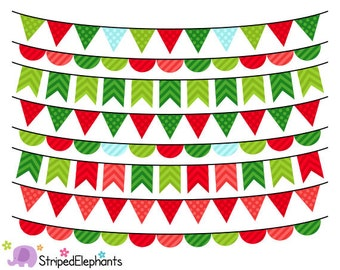 Christmas Bunting Clipart - Christmas Clip Art - Instant Download - Commercial Use