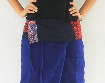 patchwork inside fold over with gray  full length  Thai fisherman pants hand weave cotton,size S-XL,unisex pants,yoga,spa pants.