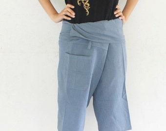 3/4 gray Thai fisherman pants  hand weave cotton 1 pocket,size S-XL,unisex pants