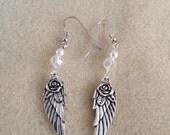 Angel wing Swarovski rose earrings