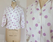 Vintage 1950s Blouse • Purple Polka Dots • Medium