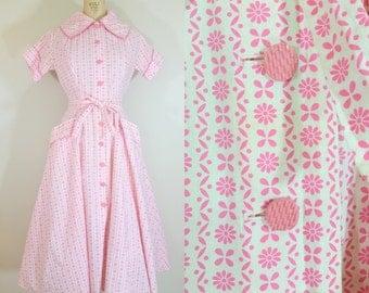 1950s Day Dress / PINK ABLOOM DRESS / Vintage 50s Pink Cotton Dress / Medium