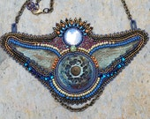 Moon Glow Bead Embroidered Winged Necklace Raku Focal
