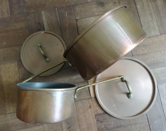 Vintage English copper hanging saucepan cooking pot set of 2 with lids circa 1950's / English Shop