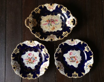 Antique English serving platter plate with two plates stapled repairs circa 1880's / English Shop