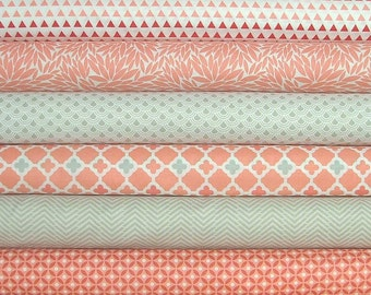 Coraline Fat Quarter Bundle of 6 in Coral & Gray by Camelot Fabrics - Only 2 LEFT