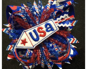Patriotic Fireworks OTT Boutique Hairbow