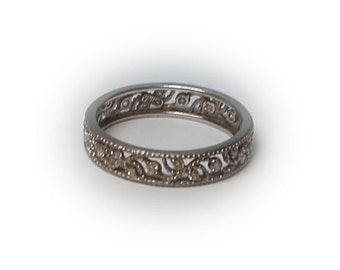 Sterling Silver Filagreed Eternity Ring embellished with CZs