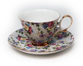 Shafford Hand Decorated Chintz Tea Cup & Saucer Japan with Gold Accent Trim