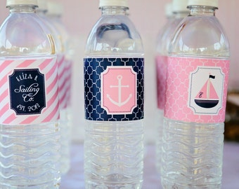 Preppy Nautical Collection: Printable Pink and Navy Water Bottle Labels (COLOR CHOICES)
