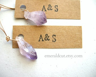 LIMITED Bookmark Style Wedding Favor: Raw Amethyst Point + Initials Mini Kraft Tag / Unique Bridal Shower Favor, Personalized Monogram Gift
