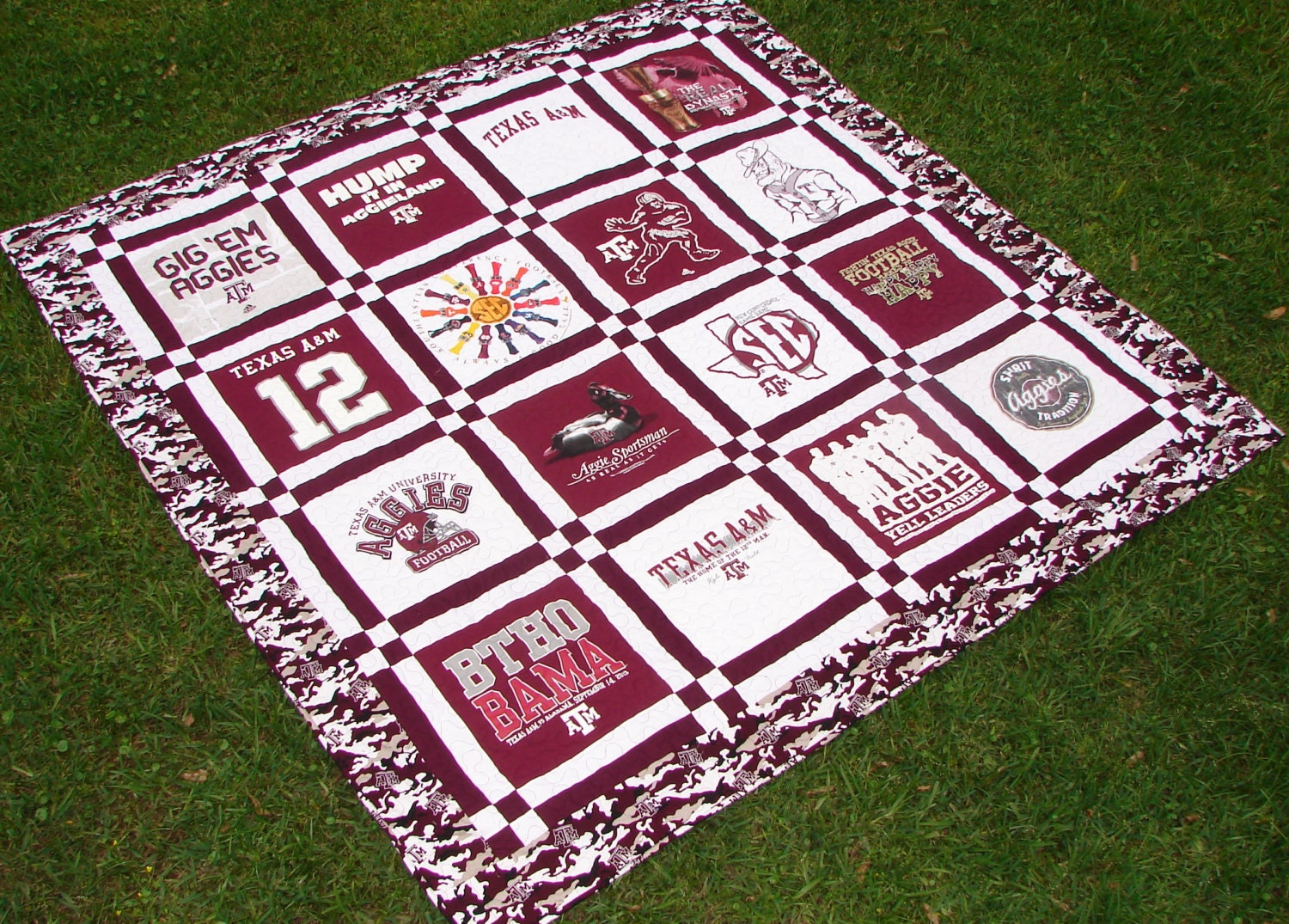 Texas A Amp M Aggies Themed T Shirt Quilt Double Sashing Style