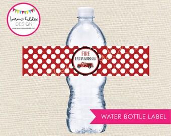 Fire Extinguisher Water Bottle Labels, Fire Extinguisher Water Bottle, Fire Extinguisher Birthday, Fireman Printables, Lauren Haddox Designs