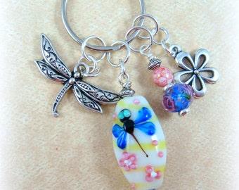 Dragonfly Key Chain - Dragonfly Purse Charm - Dragonfly Key Fob - Dragonfly Accessory - Blue Yellow & Pink Dragonfly Key Chain - Purse Charm