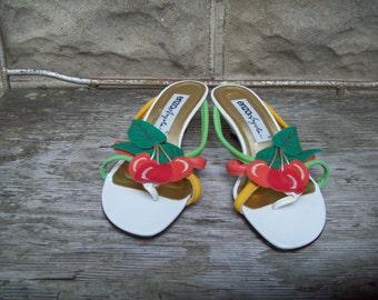 Enzo Angiolini Leather Cherry Sandals Size 7M UK 5 Euro 37 38