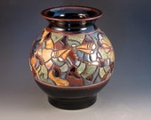 Large Handcarved Mosaic Vase With Dragonflies, Dark Brown Glaze, Mulitiple Colors, Ready To Ship
