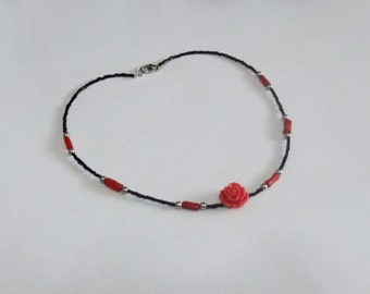 Coral Rose Beaded Necklace