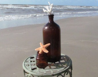 Set of Two Vintage Antique Brown Bottles with Shells