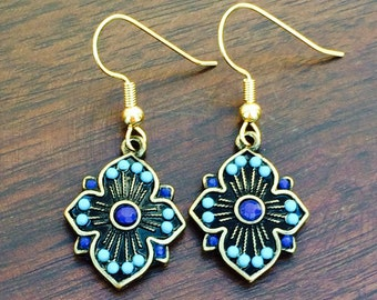 Gorgeous navy and teal medallion earrings