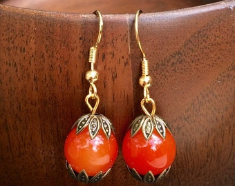 Gorgeous orange bubble gum earrings