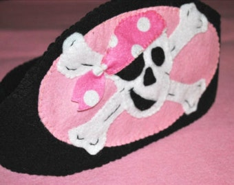 Pirate Hat Costume,Pink and Black, Skull and Crossbones, Girl Pirate
