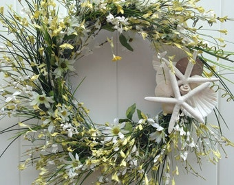 Beach Wedding-Annie Gray Design-Spring Wreath-Beach Decor-White Starfish Wreath-Garden Wedding-Beachy Wreath-Vow Renewal Decor-Shells