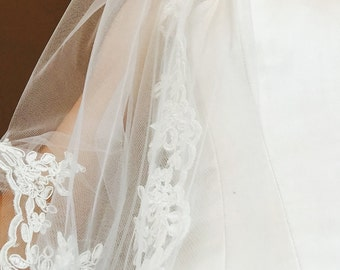 Custom Tulle Wedding Veil Single Layer with Lace Trim