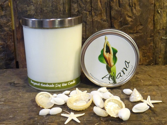 Bergamot Essential Oil Handmade Soy Wax Candle - Flat Rate Shipping Now Available!
