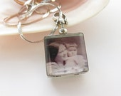 Vintage Photo Pendant Sterling Silver Double Portrait Picture Frame With Sterling Silver 24 Inch Necklace Marked Italy