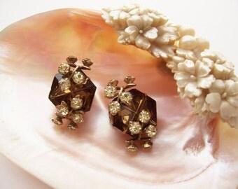 Vintage Jewelry Pins Prong Set Smoky Topaz Crystals Rhinestones Pin Backs 1950's Gold Tone