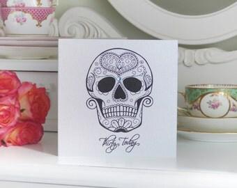 Love Silver Sugar Skull Day of the Dead Tattoo Handmade 30th Birthday Card