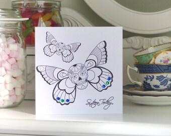 Butterfly Sugar Skull Day of the Dead Tattoo Handmade 16th Birthday Card