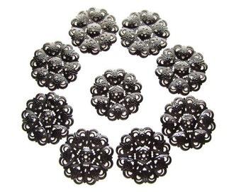 9 Large Black Enamel Filigree Components